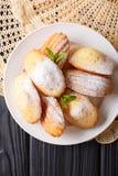De koekjes van Madeleine met gepoederde suiker en muntclose-up op een pla Royalty-vrije Stock Foto's