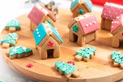 De Koekjes van de pastelkleurkerstmis van het vakantievoedsel DIY, Peperkoekhuizen, a stock foto