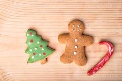 De Koekjes van peperkoekkerstmis De achtergrond van Kerstmis Close-up C Royalty-vrije Stock Afbeelding