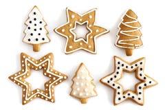 De koekjesachtergrond van de Gember van Kerstmis. royalty-vrije stock afbeeldingen