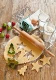 De koekjesingrediënten van Kerstmis Stock Afbeelding