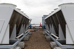 De koel industriële close-up van airconditioningseenheden royalty-vrije stock foto