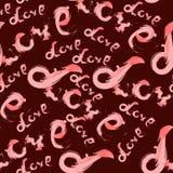 De koele en mooie vector van het het ontwerp naadloze patroon van de typografieliefde Stock Afbeelding