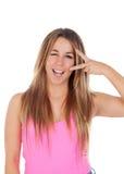 De koele vrouw kleedde zich in roze Royalty-vrije Stock Foto's