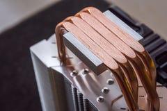 De koeler van PC cpu met hittepijpen Stock Foto