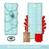 De koelkast wraped door ketting en gesloten frigde ontgonnen door dynamiet Beste manier om gewicht te verliezen Stock Fotografie
