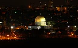 De Koepel van de Rots in Jeruzalem bij nacht, Israël Royalty-vrije Stock Foto's