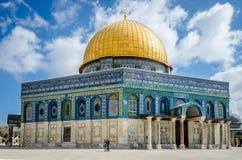 De koepel van de Rots op Tempel zet in de oude stad van Jeruzalem, Israël op Royalty-vrije Stock Foto