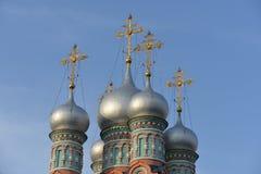 De koepel van de tempel Gregory Neokesariyskogo in de Opheldering moskou Stock Afbeelding