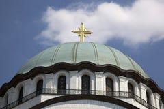 De koepel van St Sava ` s tempel in het Servische kapitaal van Belgrado Stock Afbeelding
