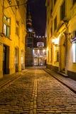 De Koepelkathedraal van Riga bij nacht royalty-vrije stock afbeelding