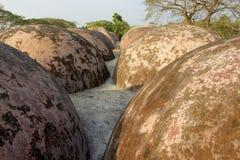 De koepels van het de Moskeedak van Shatgombuj in Bagerhat, Bangladesh Stock Afbeeldingen