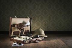 De koffer van de avonturier Stock Foto
