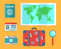 De koffer van de reiziger, aardekaart, paspoorten vector illustratie