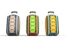 De koffers van de reisbagage op witte achtergrond Stock Foto