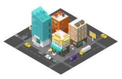 De koffie en de bank van de stadsstraat 3d het kwart Isometrische weg van het stadsdistrict De gebouwen hoogste mening van het au vector illustratie