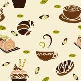 De koffie en de cake in het conceptontwerp van de bakkerijwinkel voor naadloos patroon met bruine koffie kleuren toon en weinig g Royalty-vrije Stock Afbeeldingen
