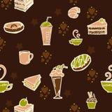 De koffie en de cake in het conceptontwerp van de bakkerijwinkel voor naadloos patroon met bruine koffie kleuren toon en weinig g Stock Foto