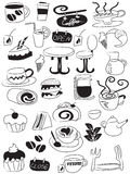De koffie en de theepictogramreeks van de krabbel Stock Fotografie