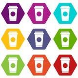De koffie haalt binnen de vastgestelde kleur van het koppictogram hexahedron weg Royalty-vrije Stock Afbeeldingen