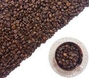 De koffie halve achtergrond van de koffiekop Stock Afbeeldingen