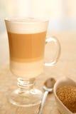 De Koffie Latte van de koffie in een glas Stock Foto's