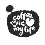 De koffie is Mijn het Levenskalligrafie op Speechbubble Royalty-vrije Stock Afbeeldingen