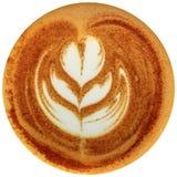 De koffie van de Lattekunst op witte achtergrond wordt geïsoleerd die Stock Foto's