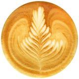 De koffie van de Lattekunst op witte achtergrond wordt geïsoleerd die Stock Foto