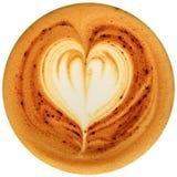 De koffie van de Lattekunst op witte achtergrond wordt geïsoleerd die Royalty-vrije Stock Foto