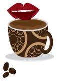 De Koffie van de Smaak van de tong Royalty-vrije Stock Afbeelding