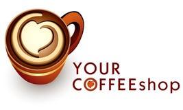 De koffie van het embleemmalplaatje of koffiezaken Stock Afbeelding