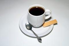 De Koffie van het ontbijt en een Wafeltje van de Suiker royalty-vrije stock foto's