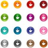 De Koffie van pictogrammen Stock Foto