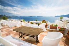 De koffie van Santorini Royalty-vrije Stock Fotografie