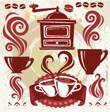De koffie van symbolen Stock Fotografie