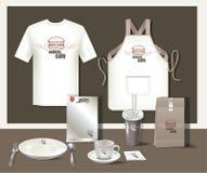 De koffie vastgestelde vlieger van restaurantburgers, menu, pakket, t-shirt, kop, u Stock Foto