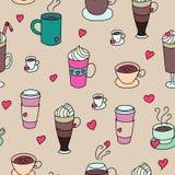 De koffie vormt kleurrijk leuk naadloos patroon tot een kom Royalty-vrije Stock Afbeelding