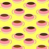 De koffie vormt Naadloos Patroon tot een kom Royalty-vrije Stock Afbeelding