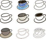 De koffie vormt schetsen tot een kom Stock Afbeelding