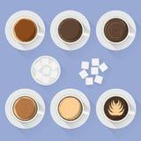De koffie vormt verschillende types van bovenkant van de koffie de vlakke vectordrank op lijst tot een kom stock illustratie