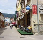 De Koffiebar van de Mostarstraat Royalty-vrije Stock Foto