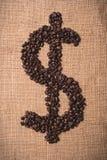 De koffieboon van het dollarsymbool Stock Foto