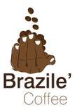 De koffieembleem van Brazile Stock Foto's