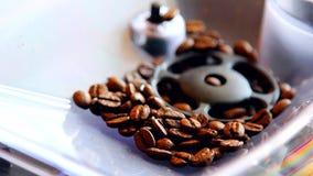 De koffiemachine maalt de bonen stock footage