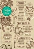 De koffiemenu van het koffierestaurant, malplaatjeontwerp Stock Afbeelding