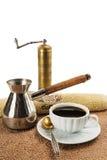 De koffiemolen, koffiepot, kop met zwarte koffie Stock Foto