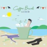 De Koffiepauze en de werknemers ontspannen Stock Afbeeldingen
