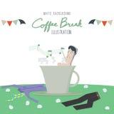 De Koffiepauze en de werknemers ontspannen (Witte Achtergrond) Stock Foto