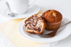 De koffiepauze van de muffin Stock Foto's